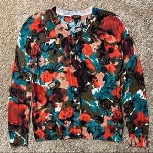 Talbots Abstract Print Cardigan Sweater S Petite